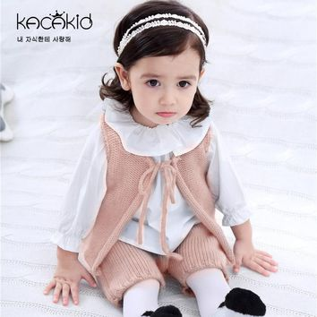 Kacakid Spring new baby clothing baby boy girl wool knit vest  pants suit infant clothes set