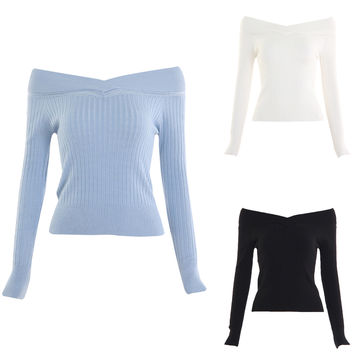 Solid Color Off-The-Shoulder Ribbed Pullover Sweater