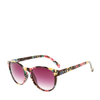 Modern Round Floral Print Sunglasses