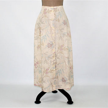 Petite Maxi Skirt Small Beige Floral Long Linen Skirt Button Up Skirt A Line Size 6 Skirt Liz Claiborne Vintage Clothing Womens Clothing