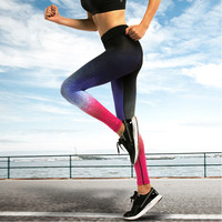 Sexy Gym Sport Leggings Fitness Women Space Pattern Leggins Active Sports Clothing Legins Workout Running Pants