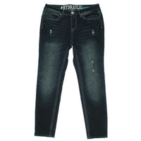 Hydraulic Womens Plus Bailey Distressed Low Rise Skinny Jeans