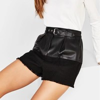 PU Leather Patchwork Women Streetwear Style Women Casual Black Leather Short With Waist Sashes