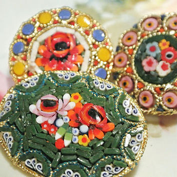 Micro Mosaic Brooch Millefiori Glass Brooches Italy Italian Floral Glass Beads 1950s 50s Mid Century Italian Florentine Art Hand Crafted