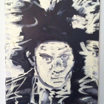 Black and White Art Pop Art Painting 16x20 Jean Michel Basquiat Canvas Wall Art Canvas Painting Urban Art