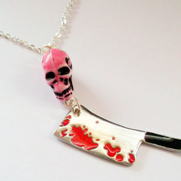Bloody Cleaver Necklace Creepy Skull and by KitschBitchJewellery