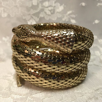 Vintage Whiting Davis Gold Snake Triple Coil Cuff Bracelet - Signed in Great Condition Serpent Cleopatra Like New