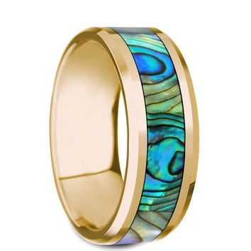 Mother of Pearl Inlay Yellow Gold Wedding Ring, 14K, Beveled Edges