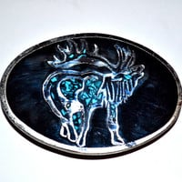 ELK Black Enamel and Silver Tone Inlay Vintage 1980s Belt Buckle Western Rodeo Cowboy Masonic