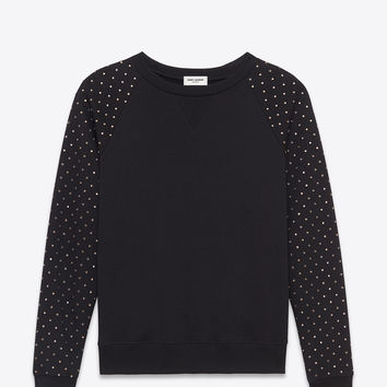 Saint Laurent Studded Crewneck Sweatshirt In Black French Terry Cloth | ysl.com