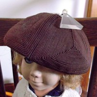 Brown Corde Hat Tam with Clear Triangle Lucite Charm for Doll Bear
