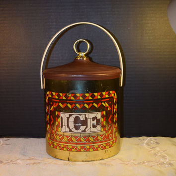 Cheinco Ice Bucket Vintage Stained Glass Look 70s Ice Bucket Man Cave Barware Plastic Ice Bucket Bar Decor Made in USA American Ice Bucket