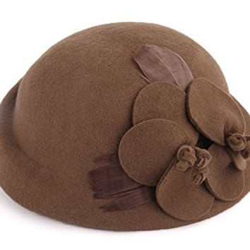 Sorliva Women's Vintage Elegant Flower Fascinator Wool Pillbox Berets Hat