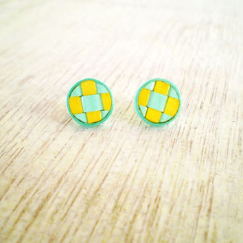 Yellow Mint Green Paper Stud Post Earrings Minimal Geometric Paper Jewelry Eco Friendly / Σκουλαρίκια από χαρτί