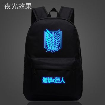 Cool Attack on Titan  Anime Luminous Backpack Cosplay no  Wings of Liberty School Shoulder Bag Bookbag New AT_90_11