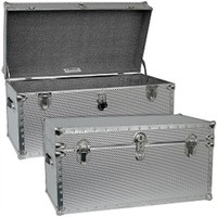 Steel College Dorm Room Trunk - Heavy Duty Footlocker University Essentials