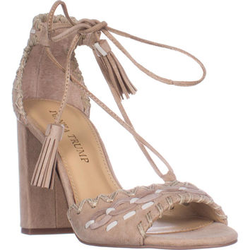 Ivanka Trump Karita Block Heel Lace Up Sandals, Light Natural , 5 US
