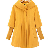 new winter women Cape loose  knitted sleeves Woolen coat windbreaker jacket plus size