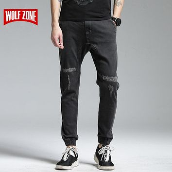 Men Black High Stretch Denim Trousers Men Biker Distressed Mid Full Length Pencil Pants