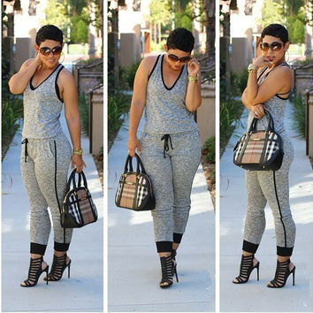 Grey V-Neck Sleeveless Drawstring Jumpsuit