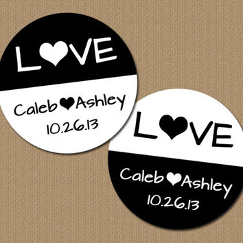 Black & White Wedding Stickers - Personalized PRINTABLE Bridal Shower Labels, Favor Tags, Cupcake Topper, Envelope Seals - Custom Colors