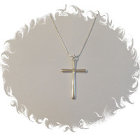 925 Sterling silver cross necklace hangs from sterling silver rolo chain jewelry Gift