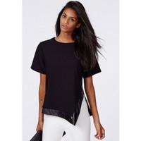 Missguided - Asymmetric Leather Trim Top In Black
