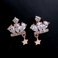 Crown Star Rhinestone Earrings