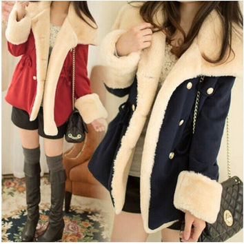 Women Korean Fashion Slim Warm Double-breasted Wool Jacket Coat = 1930396164