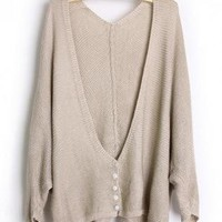 Loose Bat Sleeve Beige Sweater S001662