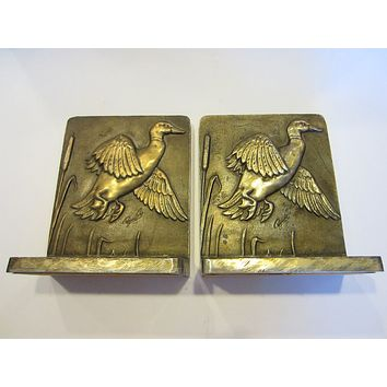 Bruce Fox Signature Bronze Flying Ducks Bookends