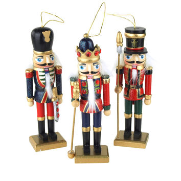 Wooden Nutcracker Soldier Christmas Ornaments, 5-Inch, 3-Piece