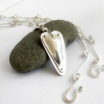 Sterling Silver Heart Pendant Necklace Love Talisman Amulet Handmade