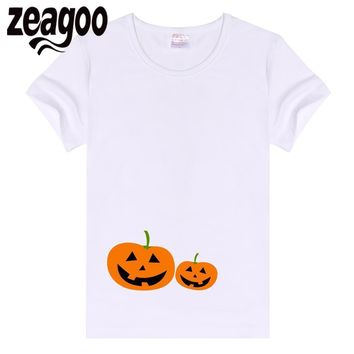 zeagoo Crew Casual Basic Plain Women Neck Slim Fit Soft Short Sleeve T-Shirt White two Pumpkins
