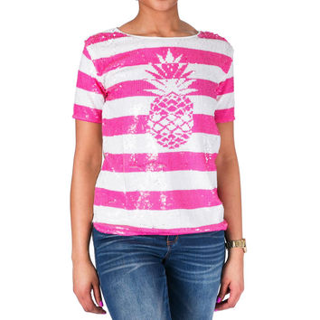Juicy Couture Black Label Womens Pineapple Bling Sequined Casual Top