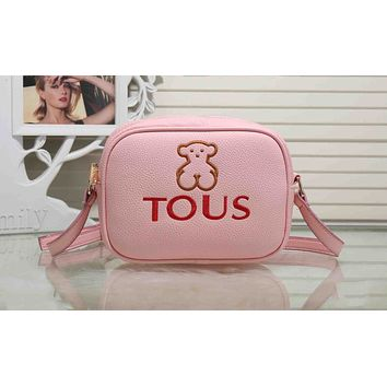 TOUS Trending Women Shopping Bag Embroidery Logo Leather Zipper Shoulder Bag Crossbody Satchel Pink I-XS-PJ-BB