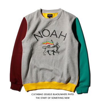 NOAH Winter Fashion Hip-hop Patchwork Pullover Sweatshirt [9588193223]