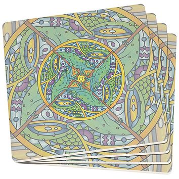 Mandala Trippy Stained Glass Chameleon Set of 4 SandsTone Art Coasters
