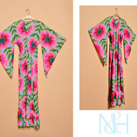 Vintage 1970s Bright Floral Print Kaftan with Front Bow