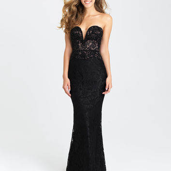 Madison James 16-404 In Stock Black SZ 10 Lace Prom Pageant Dress or Evening Gown