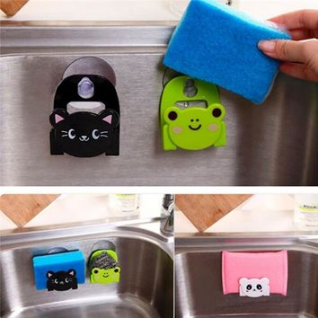 Carton Dish Cloth Sponge Holder Rack With Suction Cup Cute animal sucking sink storage shelf container drop shipping