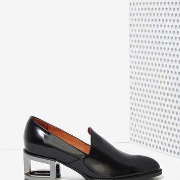 Jeffrey Campbell Serling Leather Loafers - Silver Heel