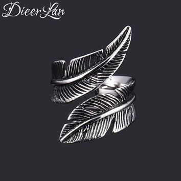 New Arrivals 925 Sterling Silver Feather Rings for Women Adjustable Size Ring Fashion sterling-silver-jewelry