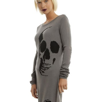 Grey & Black Skull Destructed Tunic Girls Sweater