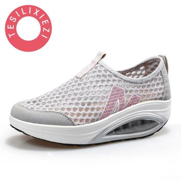 Designer Shoes Women Luxury 2017 Sapato Feminino Clear Wedge Heels Breathable Mesh Lady Shoes Platform Pumps Zapatos Mujer