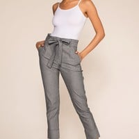 Gideon Striped High Waisted Pants - Black