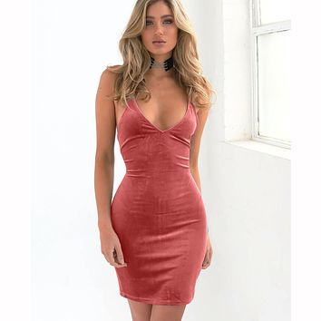 Spaghetti Strap V-neck Sleeveless Solid Sheath Short Dress