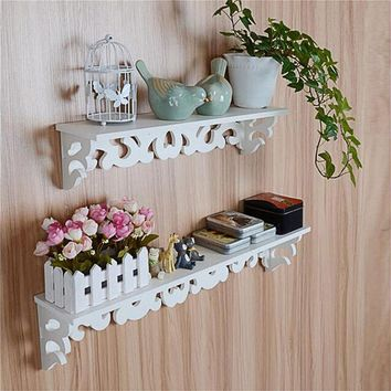 Wood Wall Shelve Single Layer Carved Storage Rack