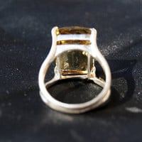 Bold Lemon Quartz Sterling Silver Ring