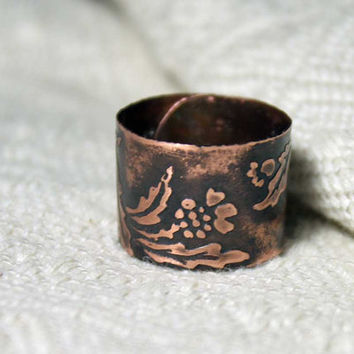 Small thistle ring - Copper ring - Etched ring - Ethnobotanic Scotland ring - Ring cuff - Free-size ring - Forest Elven Ring - Carduus ring